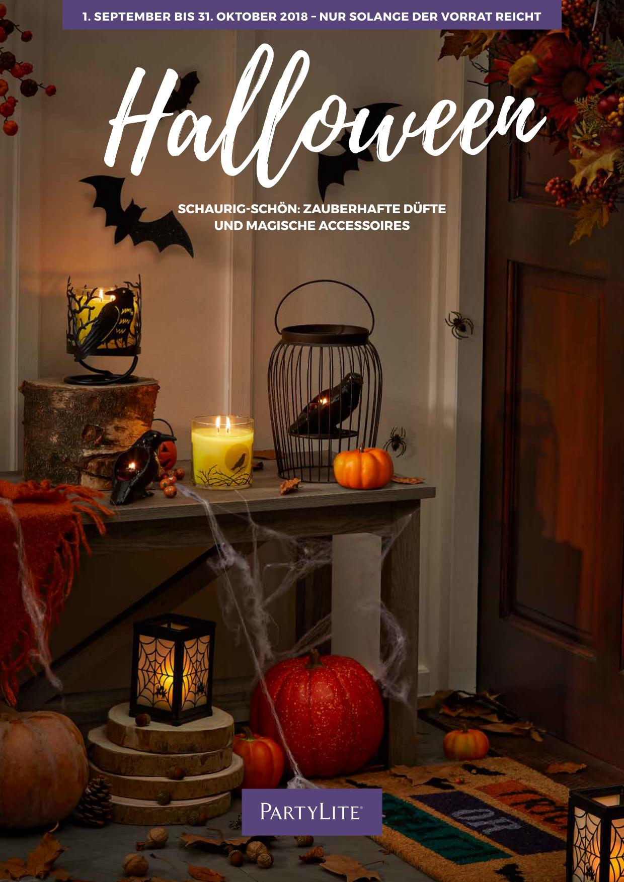halloween mit partylite accessoires und dem duft hokuspokus